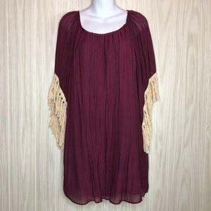 Vava by Joy Han Maroon Wine Fringe Tassel Dress